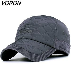 Wholesale winter baseball caps ear flaps resale online - VORON Warm Winter Baseball Cap Men Brand Snapback Black Solid Bone Baseball Mens Winter Hats Ear Flaps