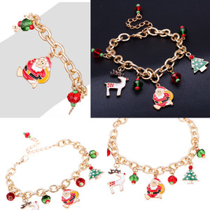 Wholesale hot santa girl resale online - Hot Sale Christmas Women Jewelry Santa Claus Christmas Gold Charm Bracelet Children Kids Girl Chain Bracelet Jewelry for Christmas Gift