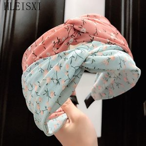 Wholesale flower printed chiffon fabric resale online - New Fabric Printing Chiffon Headband Women s Hairband Casual Flower Double Hook Knotting Girls Hair Hoop Lady Hair Accessories