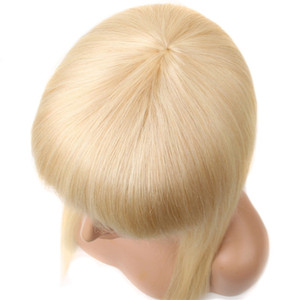 Wholesale weave making machines resale online - 613 Blonde with Bangs Human Hair Wigs Remy Straight Weave inch Pre Plucked Full Machine Made Lace Front Wigs Peruvian hair