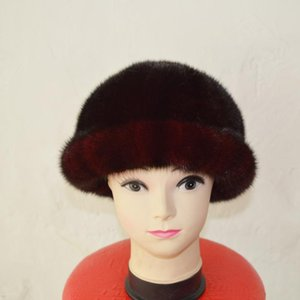 Wholesale hats ship china resale online - Made in China AU927 Russian Winter Hat Women Top Real Fur Cap Brown Color Hats for Girls