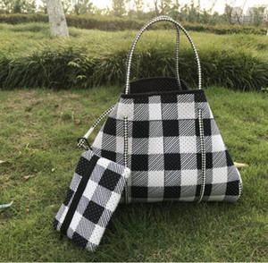 Wholesale small designer plaid bag for sale - Group buy Neoprene Baseball Bag sunflower Shoulder bag Women red white Plaid Shopping Bags With small Wallet Christmas Storage Bags by sea GGA3730