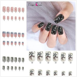 Wholesale pink flower nail designs for sale - Group buy 24Pcs False Nail Tips Leaf Star Flower Pattern Full Cover Fake Nail Art Decoration Girls Design Manicure Tool Nails Set6