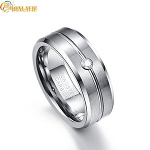 Wholesale tungsten rings men resale online - 8mm Zircon Classic Men Ring Tungsten Carbide Faceted Wedding Bands Men s Jewelry Anillos para hombres Pierscienie