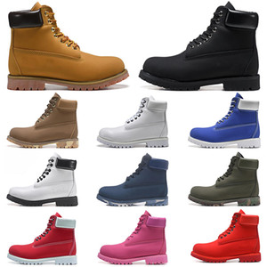 Wholesale mens air spring shoes resale online - Fashion men boots designer mens womens leather shoes top quality Ankle winter boot for cowboy yellow red blue black pink hiking work