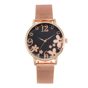 Wholesale floral watches women for sale - Group buy Fashion Casual Floral Pattern wrist watches for women stylish luxury gold mesh stainless steel Strap ladies watch