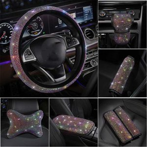 Wholesale wheels for cars for sale - Group buy Full Rhinestones Car Steering Wheel Cover Set Diamond Headrest Neck Pillow Seatbelt Gear Armrest Cover For Girls Accessories