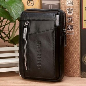 Wholesale mobile cell phone purse for sale - Group buy Leather Pouch Mini Hook Pack High Men Mobile Quality Fanny Bag Hip Case Cell Belt Phone Pocket Cigarette Genuine Purse Waist Bum Akgjg Abjf