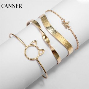 Wholesale cat bangles for sale - Group buy Canner Boho Gold Color Geometric Adjustable Open Bangles Set For Women Cute Cat Ear Shaped Triangle Bracelets set