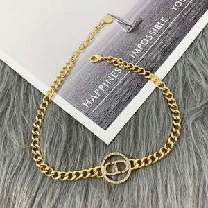 D Home 2020 New CD letter bracelet necklace female Dijia Internet celebrity Diamond-embedded CD letter bracelet earrings