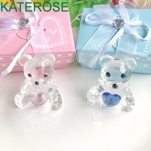 Wholesale teddy bears for baby girls resale online - Choice Crystal Collection Teddy Bear Figurines with Blue and Pink Heart For Boy Girl Baby Shower Favors