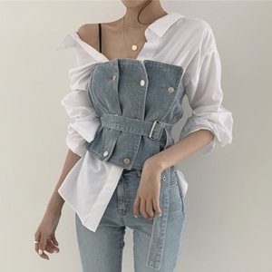 Wholesale cowboy outfits resale online - Korea New Autumn Chic Small Sexy Personality Lapel Stripe Shirt Belt Tube Top Cowboy Women Two Piece Outfits B772