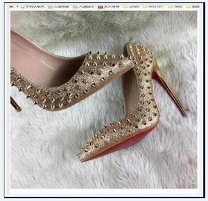 Wholesale navy evening shoes for sale - Group buy 2020 plus size high heel shoes Ladies flock upper slip ons cm cm women red bottom stiletto shoes classical pumps evening shoes