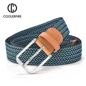 Wholesale men belt canvas webbing for sale - Group buy 2020 Hot Colors Men Women s Casual Knitted Belt Woven Canvas Elastic Stretch Belt Plain Webbing Metal Buckle Black MQ003