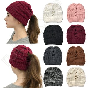 Women Knitted Ponytail Caps High Bun Criss Cross Ponytail Beanie Winter Warm Wool Knitting Casual Hat Christmas Party Hats 16styles RRA3625