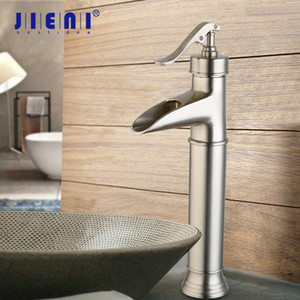 JIENI Black ORB Bathroom Basin Faucet Deck Mount Nickel Brushed Basin Vessel Sinks Waterfall Mixer Tap Black Water Faucet Tap