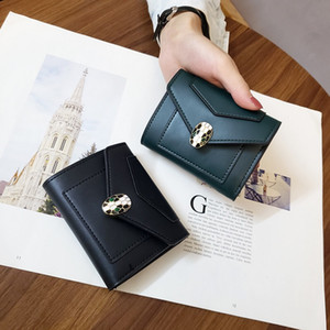 Wholesale women small wallets for sale - Group buy 2020 designer new small wallet women short European and American plain snake head ladies wallet student fashion three fold coin purse