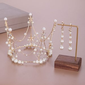 Wholesale korean bridal crown for sale - Group buy Hot Sale Korean Fashion Cold Metal White Crystal Simulated Pearl Tiaras Crowns Earring Bridal Bride Wedding Party Jewelry Sets