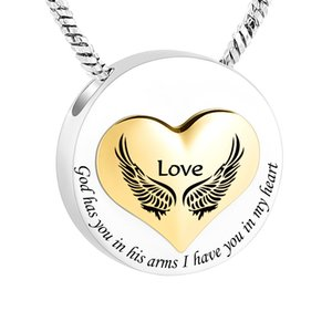Wholesale now chains for sale - Group buy Angel Wings Round Stainless Steel Cremation Ashes Memorial Jewelry Pendant I was his Angel Now He s mine