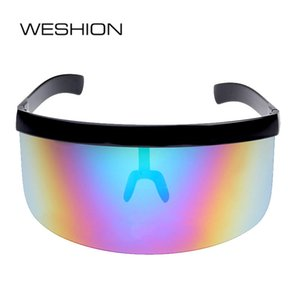 Wholesale clout goggles resale online - WESHIONON Oversized Sunglasses Men Women Planga Clout Goggles Reflective Eyeglasses Windproof Sun Glasses Rimless Gafas Sol