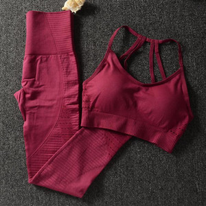 Wholesale yoga wear resale online - Gym Piece Set Workout Clothes for Women Sports Bra and Leggings Set Sports Wear for Women Gym Clothing Athletic Yoga Set36