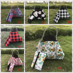 Wholesale small designer plaid bag for sale - Group buy Neoprene Baseball Bag sunflower Shoulder bag Women red white Plaid Shopping Bags With small Wallet Christmas Storage Bags GGA3730