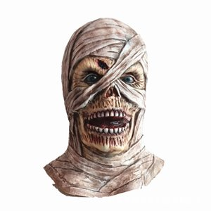 Wholesale mask horror zombie resale online - Halloween Mummy Latex Mask Horror Zombie Headgear Stage Dress Up Props Haunted House Escape Room Halloween Decoration