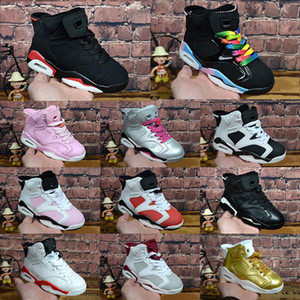 Wholesale children shoes cat resale online - Kids shoes VI Sneaker infrared Black Cat Pink carmine oreo Basketball Shoes Children Boy Girls Shoes Toddlers Trainers Size