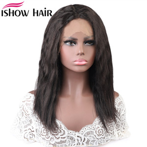 Wholesale wet wavy virgin human hair wigs for sale - Group buy Ishow Brazilian Natural Wave Wet and Wavy Water Wave Bob Wigs T Lace Part Wig Lace Front Wig Virgin Human Hair Wigs