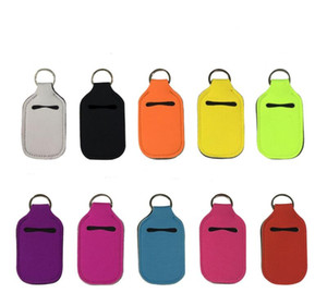 ölträger großhandel-Hand Sanitizer Bottle Holder ML Oil Essentials Shampoo Flasche Neoprene Sleeve mit Keychain Carriers Solid Color HHF927