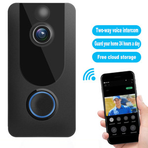 Home wireless doorbell V7 1080P HD Wifi real time video Two-channel audio night vision PIR motion detection with bell Mobile phone video