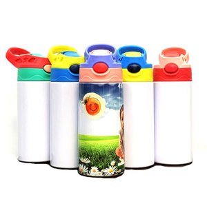Wholesale thermos kids water bottle resale online - 350ml Sublimation Kids Blank Sippy Cup with Straw Stainless Steel Water Bottle For Children Gifts Colors Duckbill thermos cup Hot F92402