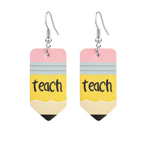 Wholesale leather earrings resale online - Designer Faux Leather Earrings Math Teacher Pencil Wate Drop Fashion Printed Dangle Earrings Hook Ear Party Jewelry Gift