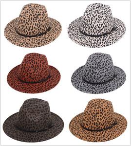 NEW Leopard print Jazz hat Fashion felt top hat men women flat brim wide brim hat couple hats Panama Caps 6 colors