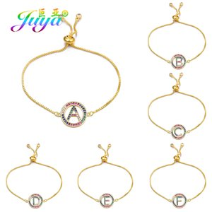 Wholesale alphabet z bracelets resale online - Juya Rainbow Zircon Alphabet Letters Bracelet Femme A Z Initial Adjustable Chain Charm Bracelets For Women Men