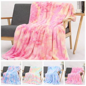 Wholesale hand warm plush resale online - Tie dye Flannel Blankets Warm Sherpa Blanket Kids Adults Square Quilt Plush Double Thickening Winter Couch Blankets CCA12536