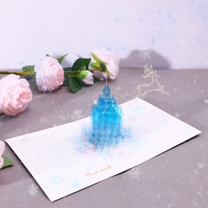 Wholesale greeting birthday resale online - 3D Stereo Greeting Cards Creative Crystal Castle Birthday Wishes Gift Card Birthday Accessory Holiday Handmade Greeting Cards VT1615