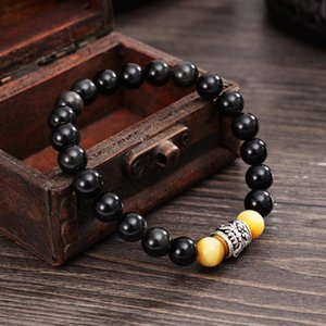 Wholesale lucky charm stone bracelets resale online - Dragon Hollow out Design Charm Bracelets Obsidian Tiger eye Stones Men Lucky Jewelry