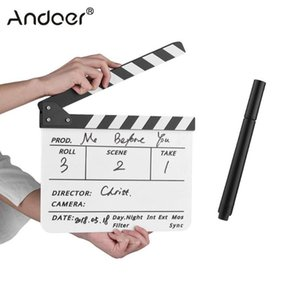 Dry Erase Acrylic Director Film Clapboard Movie TV Cut Action Scene Clapper Board Slate with Marker Pen Black White Color Stick