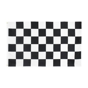 Wholesale flags checkered for sale - Group buy Black White Square Checkered Racing Car Flag High Quality Direct Factory Stock Double Stitched for Decoration
