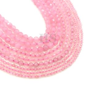Wholesale natural healing jewelry for sale - Group buy Natural Pink Rose Quartz Small Faceted Round Loose Bead Healing Energy Stone for Jewelry Bracelet Necklace Design mm mm mm