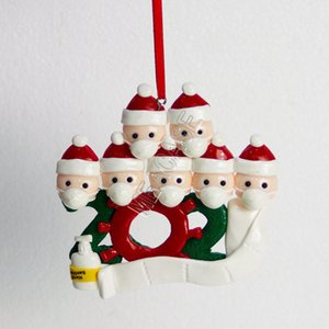 Wholesale hand clay for sale - Group buy Christmas Ornament Polymer Clay DIY Family Of Snowman Face Mask Handing Pendant Toys Xmas Tree Decor Pandemic Social Distancing D91105