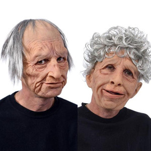 Wholesale man wig full resale online - Old Man Scary Wig MaskCosplay Scary Full Head Latex Mask Halloween Horror Funny Cosplay Party Mask Old Man Head Helmet Real