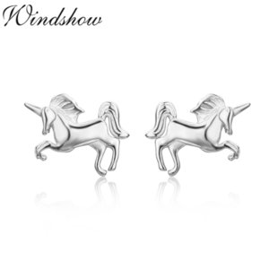 Wholesale earrings for baby girls resale online - Cute Sterling Silver Small Tiny Magical Horse Stud Earrings For Women Girls Kids Baby Piercing Jewelry Orecchini Aros Arete