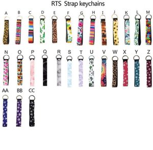 Wholesale badminton ring resale online - Neoprene Wristlet Fobs Keychain Badminton Bag Key Chain Holder Colourful Printed Wrist Key Belt Sunflower Strap Leopard Lanyard Key Ring Ke