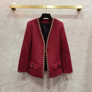 European and American women's wear 2020 winter new style Long-sleeved V-neck cardigan Fashionable red tweed coat
