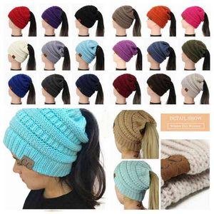 CC Ponytail Beanie Hat 29 Colors Women Crochet Knit Cap Winter Skullies Beanies Warm Caps Female Knitted Big Kids Hats 30pcs