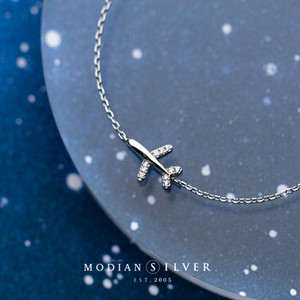 Korean Fashion 925 Sterling Silver Cute Mini Diamond Airplane Bracelet Women's Temperament Chain Small Fresh Style Exquisite Jewelry