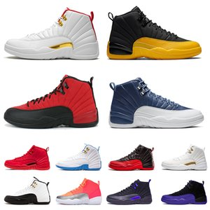 Wholesale retro 12 ovo white gold resale online - 12 Mens Womens s Flu Game Jumpman Dark Concord University Gold ovo Bulls Satin Jordan Retro Mens Trainers Woman Sports Sneakers