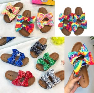 Wholesale cute sandals resale online - Tie dye Color Bow Sandals Plat Form Slides Women Ladies Luxurys Shoes Slippers Beach Bath Slipper Fashion Elegent Cute casual shoes D9706